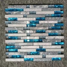 TST Porcelain Pebbles Blue Beige Wave Edge Swimming Pool Bath Floor Mosaic Tiles Fambe Art Glazed Ceramic Tile PP91