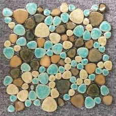 TST Porcelain Pebbles Fambe Art Glazed Ceramic Tile Green Wave Edge Bath Floor Swimming Pool Mosaic Tiles TSTGPT005