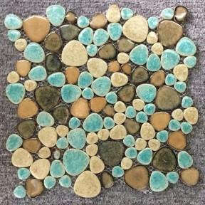 TST Porcelain Pebbles Fambe Art Glazed Ceramic Tile Green Wave Edge Bath Floor Swimming Pool Mosaic Tiles PP95