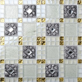 TST Glass Metal Tile White And Black Crystal Rhinestone And Archaistic Flower Pattern Living Room Kitchen Backsplash Tiles
