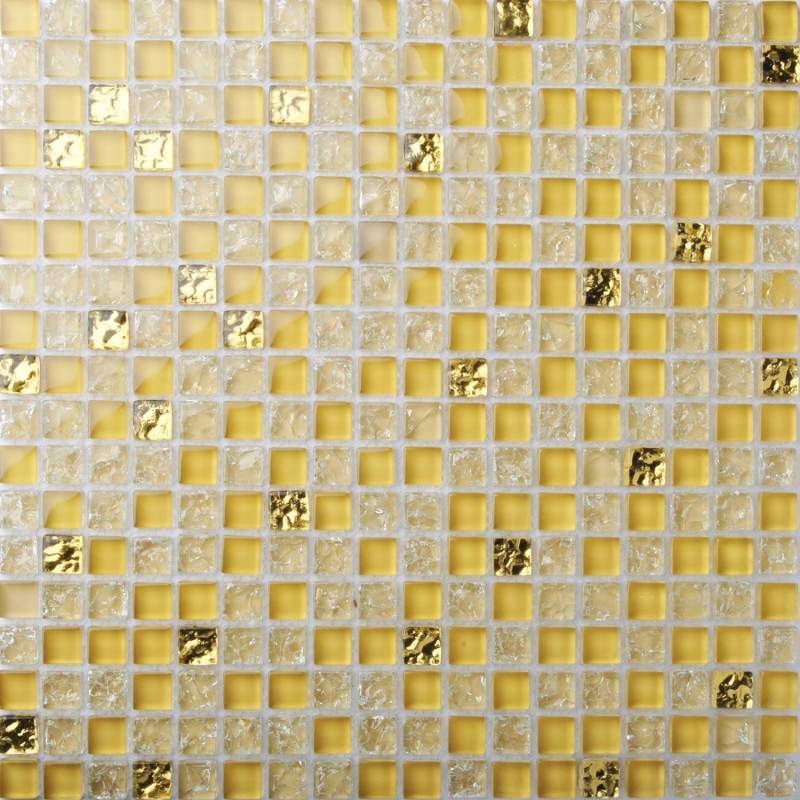 TST Crystal Glass Tiles Golden Mosaic Unique Interior Crackle ...