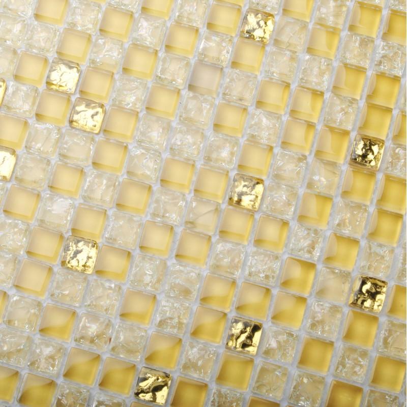 Crystal Glass Tiles Golden Mosaic Unique Interior Crackle Kitchen ...
