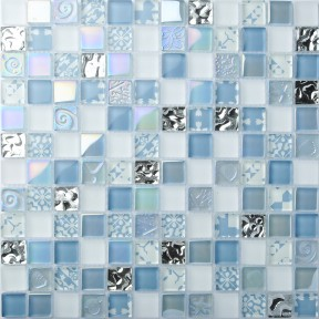 TST Crystal Glass Tiles Blue Iridescent  Mosaic Interior Crackle Bathroom Kitchen Backsplash Tile