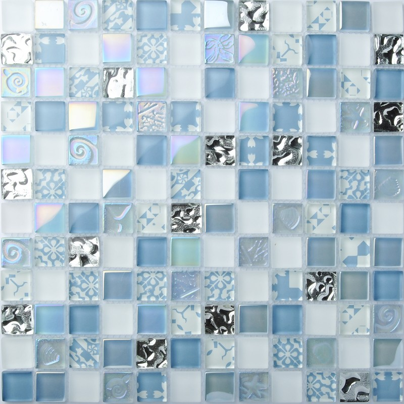 TST Crystal Glass Tiles Blue Glass Mosaic Tile Iridescent Mosaic ...