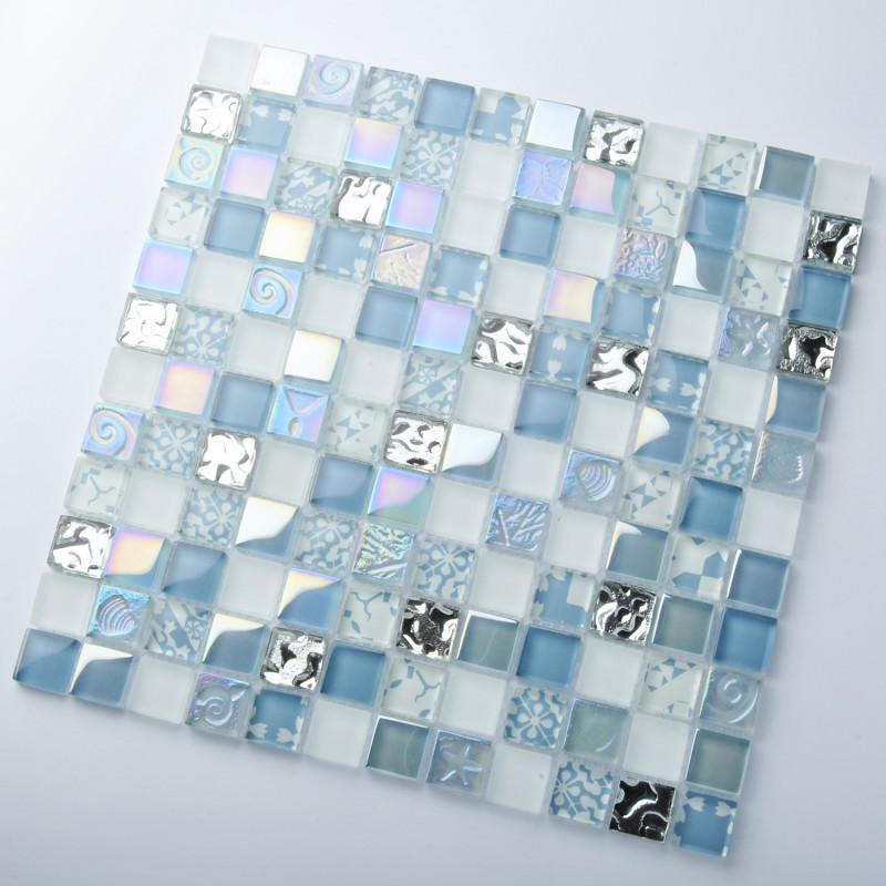 Tst Crystal Glass Tiles Blue Glass Mosaic Tile Iridescent