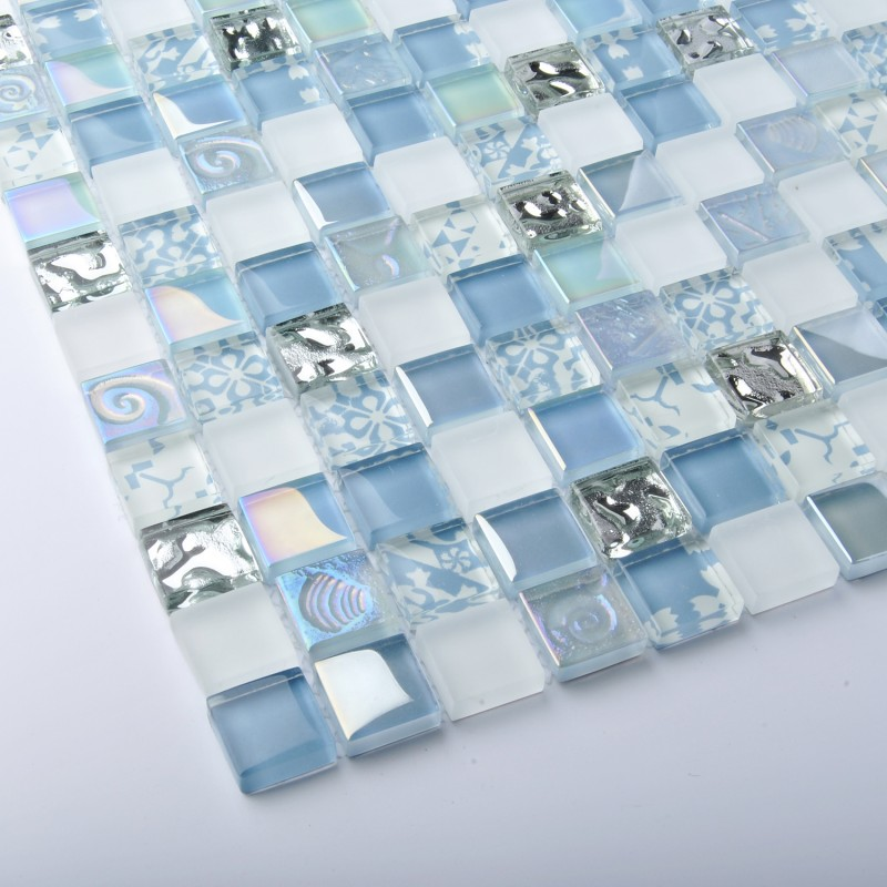 tst crystal glass tiles blue glass mosaic tile iridescent mosaic rh tstmosaictiles com White Iridescent Mosaic Tile Backsplash Iridescent Bathroom Tile