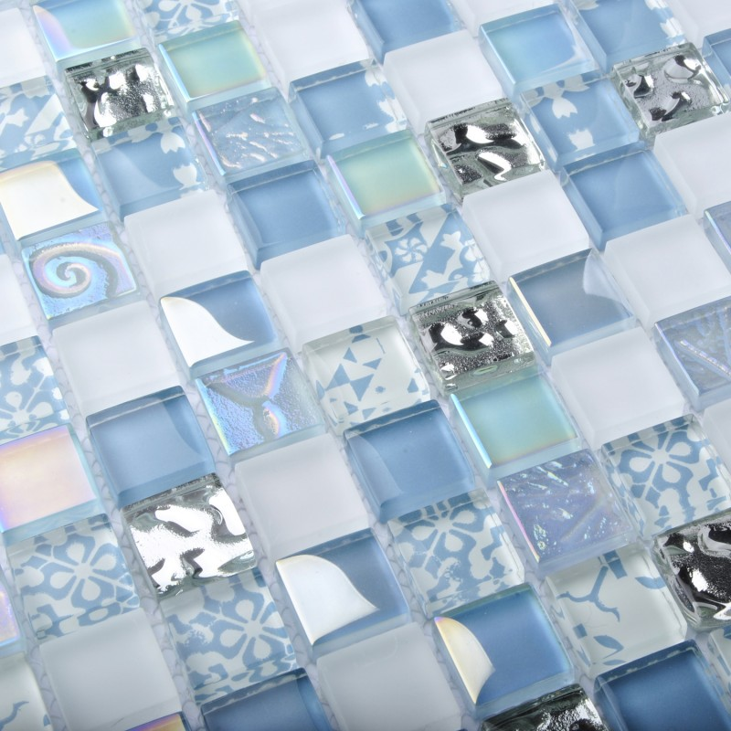 Tst Crystal Glass Tiles Blue Glass Mosaic Tile Iridescent Mosaic Glass Tile With Interior