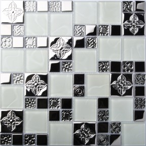 TST Glass Metal Tile  White And Silver  Stainless Backsplash Kitchen Archaistic Flower Patter Living Room Bar Wall Deco