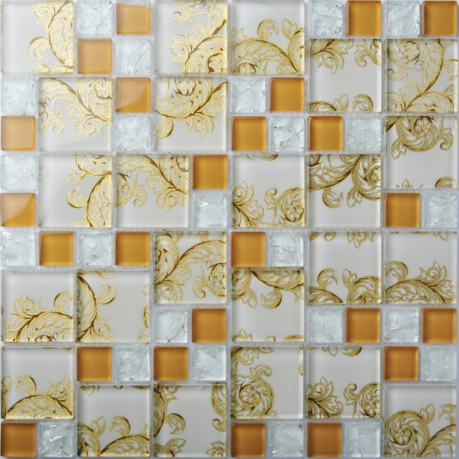 TST Crystal Glass Mosaic Tiles With Inner Flowery Pattern Crackle Ice Break Special Design Innovation Kitchen Backplash Home Hotel Decor