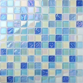 TST Crystal Glass Tiles Beach Blue Iridescent Mosaic Lovely Wave Flower Pattern Interior Crackle Water Wave Design