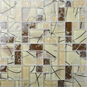 TST Crystal Glass Tiles Brown Beige Mosaic Interior Crackle Artistic Design Hand Painting Backsplash Tiles
