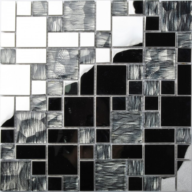 TST Glass Metal Tile Black Stainless Steel Laminated Glass Mottled Mosaic Remodeling Art