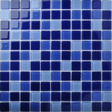 TST Crystal Glass Tiles Dark Blue Gorgeous Ocean Fashion Designed Mosaic Tile Bathroom Decor