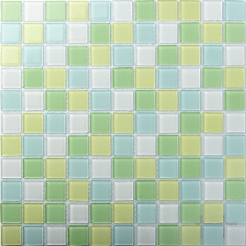 Tst Crystal Glass Tiles Green Yellow Mosaic Mirror Tile