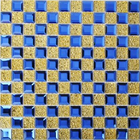 TST Crystal Glass Tiles Blue Golden Glass Mosaic Tile Tile With Interior Water Wave For Bathroom Kitchen Backsplash Tiles