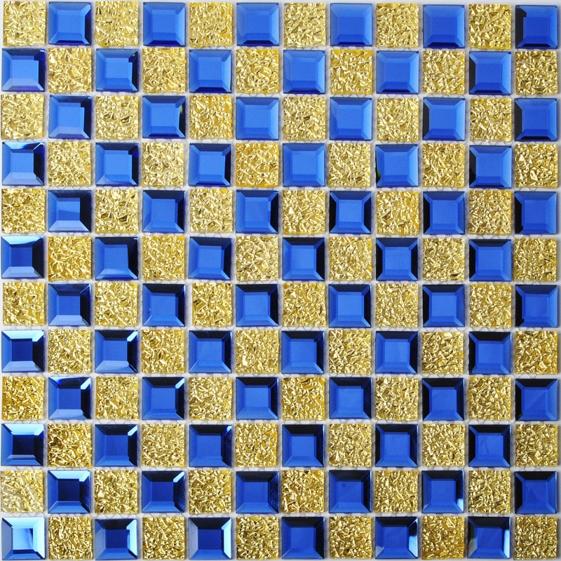 Tst Crystal Gl Tiles Blue Golden Mosaic Tile With Interior Water Wave For Bathroom Kitchen Backsplash