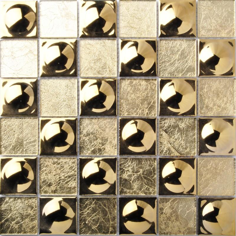 TST Crystal Glass Tile Inner Gold Foil Hemisphere Surface Mosaic ...