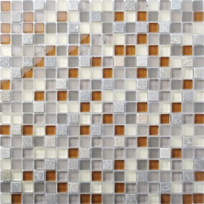 TST Glass Stone Grey & Orange Green Squared Kitchen Wall Mosaics