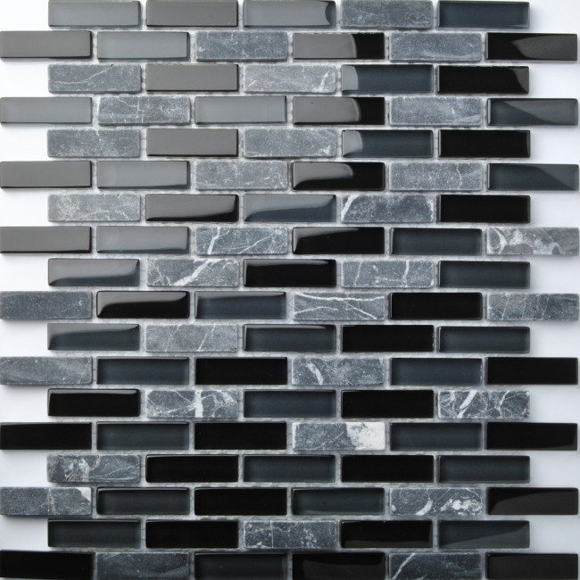 TST Glass Stone Black & Grey Interlocking Strips Mosaic Bathroom Interior design