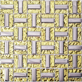 TST Crystal Glass Tiles Silver and Golden Strips Water Wave Mosaic Tile Kitchen Bathroom Remodeling