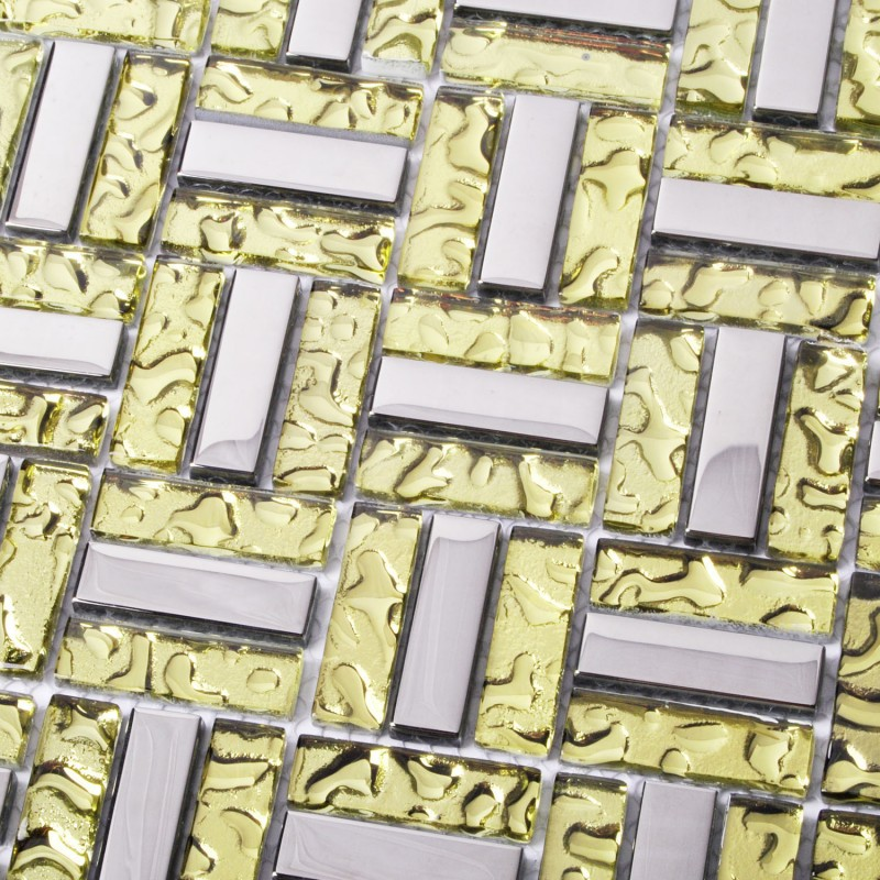 Tst Crystal Glass Tiles Silver And Golden Strips Water