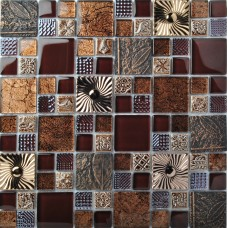 TST Glass Metal Tile Brown Southwest Style Stainless Backsplash Kitchen Archaistic Flower Patter  Wall Deco