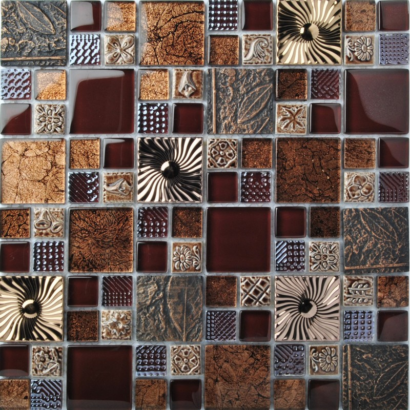 Tst Gl Metal Tile Stainless Steel Brown Kitchen Backsplash Flower Pattern Wall Decor Fly16
