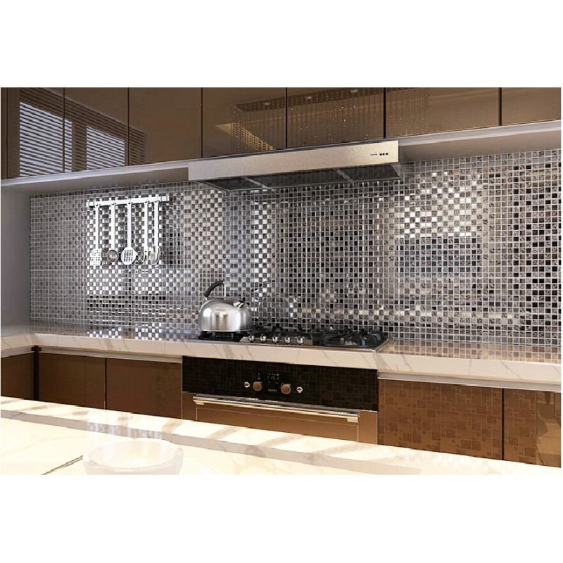 Kitchen Tiles Mosaic tst crystal glass mosaic tile silver water wave kitchen background