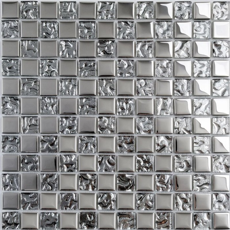 Tst crystal glass mosaic tile silver water wave kitchen