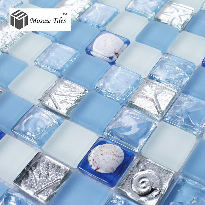 Tst glass conch mosaic tiles blue and white shell seafish for Pool design by laly