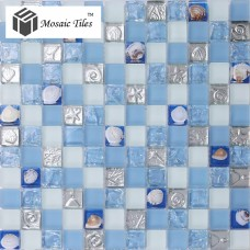 TST Glass Metal Tile Blue White Conch Steel Mosaic Bath Background Decor