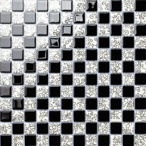 TST Crystal Glass Tiles Black And White Curve Grids Kitchen Bath Backsplash Mosaic Art