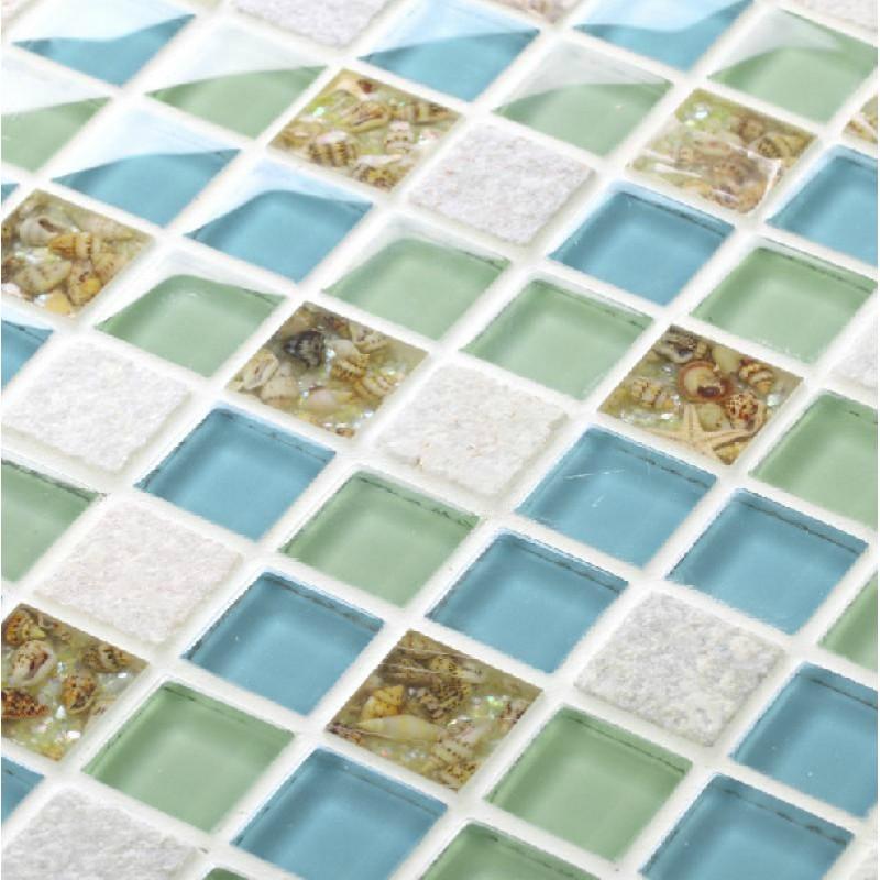 Tst Gl Stone Conch Resin Tiles Sky Blue Green Squared Bathroom Bathtub Kitchen Mosaics Tstgt037