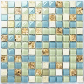 TST Glass Stone Conch Resin Tiles Sky Blue Green Squared Bathroom Bathtub Kitchen Mosaics TSTGT037