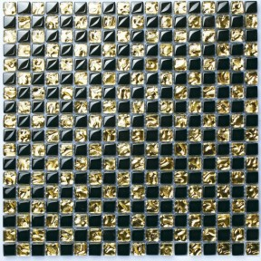 TST Crystal Glass Tiles Black And Golden Grids Kitchen Backsplash Mosaic Art