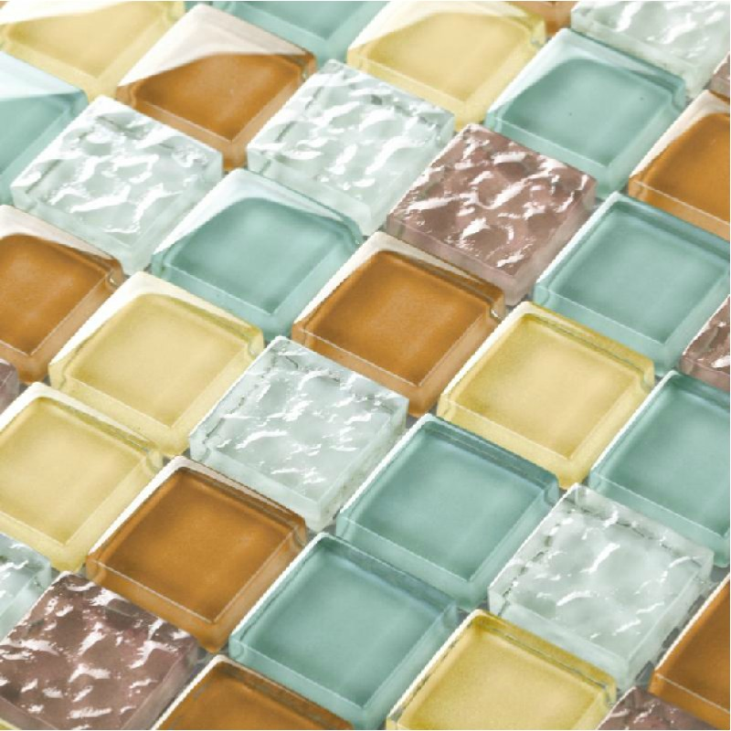 TST Crystal Glass Tiles Multi-Color Chips Kitchen Chocolate Mosaic ...
