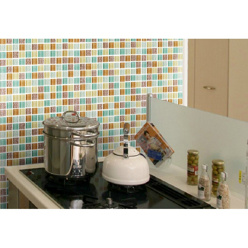 Tst Crystal Glass Tiles Multi Color Chips Kitchen Chocolate Mosaic