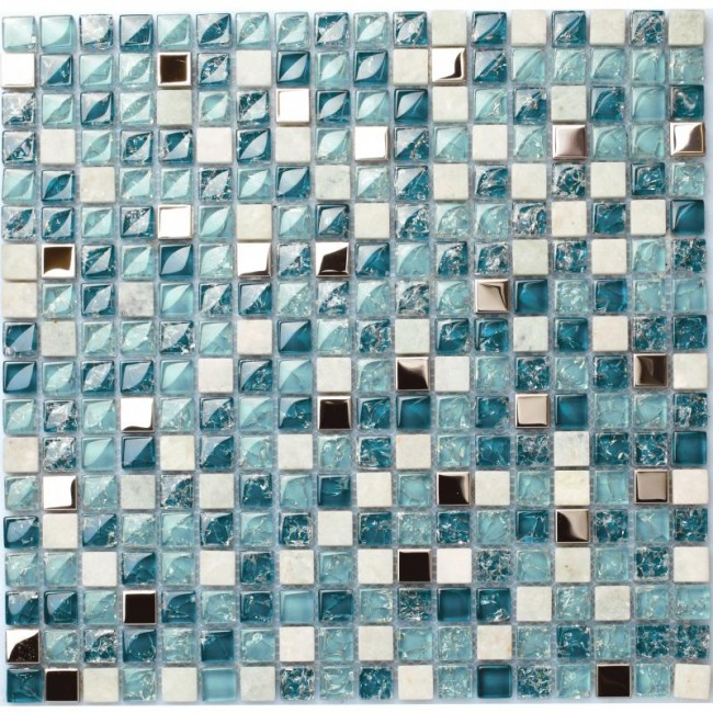 TST Glass Stone Tiles Ocean  Blue and White Squared Home Hotel Remodeling Mosaics