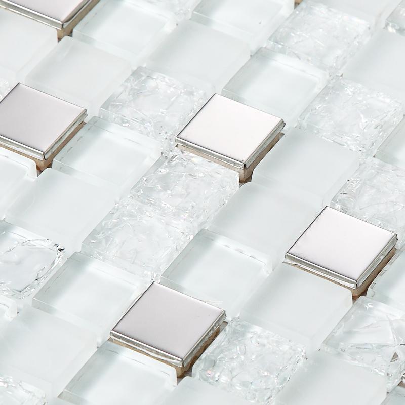 Tst Super White Glass Metal Tiles Inner Le Snow Flake Sliver Stainless Steel Bathroom Mirror Deco