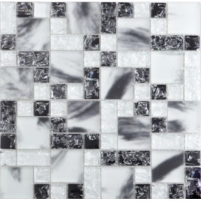 TST Crystal Glass Tile Black and White Splash-ink Frosted Glass Kitchen Design
