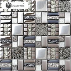 TST Glass Metallic Tile Water Wave Silver Steel Gorgeous Kitchen Remodeling Deco TSTGT151