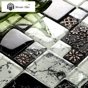 TST Crystal Glass Tile Black Brown 3D Resin Flower Sculpture Splash-Ink Design Kitchen Deco