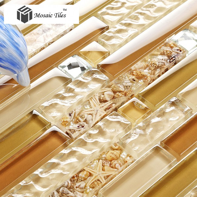 TST Glass Conch Tiles Golden Tan Diamond Nature Shell Strip Water Wave Interlocking Bathroom Kitchen Decor TSTGT156