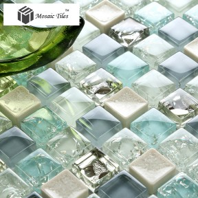 TST Crystal Glass Tile Blue Aqua Mosaic Porcelain Chips Bathroom Background Wall Decorative Remodeling Art