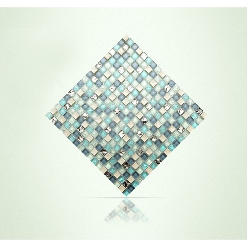 Tst Crystal Glass Tile Blue Aqua Mosaic Porcelain Chips