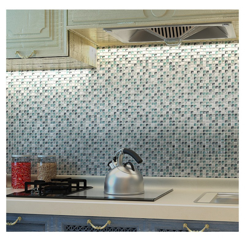 TST Crystal Glass Tile Blue Aqua Mosaic Porcelain Chips Bathroom Background  Wall Decorative Remodeling Art Part 91