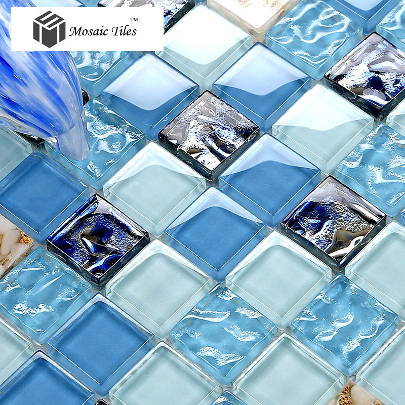 Tst Glass Conch Tiles Sea Blue Glass Tile Bathroom Wall
