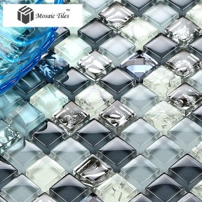 TST Crystal Glass Tile Blue Mosaic Inner Crackle Snowflake Diamond Bathtub Mirror Walls Hotel Design Art