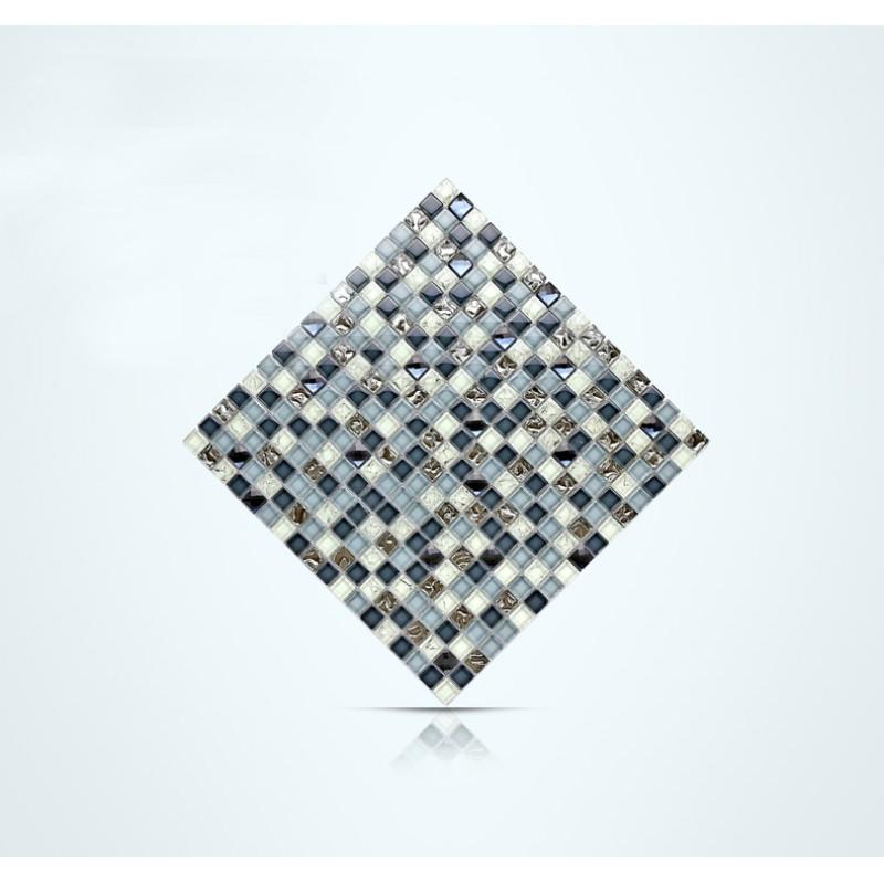 TST Crystal Glass Tile Blue Mosaic Inner Crackle Snowflake Diamond ...