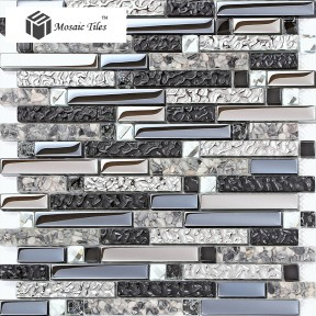 TST Interlocking Black Silver Mirrored Glass Resin Mosaic Tiles with Inner Natural Conch Water Wave Finish Unique Design for Kitchen Backsplash Home Background Wall Decor TSTGT163